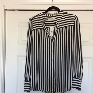 NWT Large Black & White Stripped Button Up Blouse